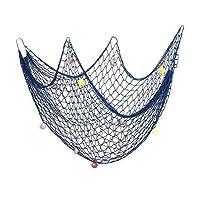 AOFOX Decorative Fishing Net Decor,Mediterranean Ocean Pirate Beach Theme Party Decorations (Blue, 1M x 2M)