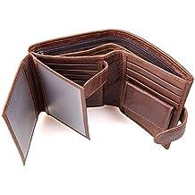 5ef6a3120 Billeteras Hombre, Cartera de Piel, Carteras Hombre Cuero, RFID Bloqueo  Monedero de Cuero