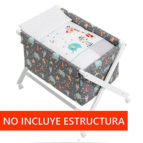 Vestidura Minicuna Tijeras mibebestore Blanco/Gris Jungla (No Incluye Estructura)