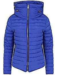Womens Ladies Quilted Padded Coat Bubble Puffer Jacket Fur Collar Hooded Thick [Royal Blue, UK S]