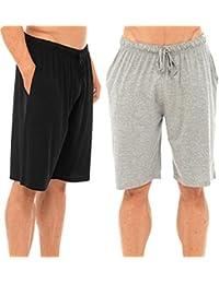 Hombres Pack Doble Salón Pantalones Cortos Jersey Elástico Noche Ropa  Pijamas Pj inferiores 50a34d50ae71