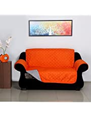 @home by Nilkamal Reversible Microfibre 2 Seater Sofa Cover - 60 GSM, Orange and Grey