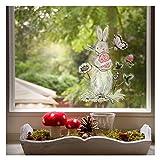 Wandmotive.de Fensterbild Osterhase Aquarell - Lichtdurchlässige Statische Folie - Wiederverwendbar - 11 cm x 15 cm