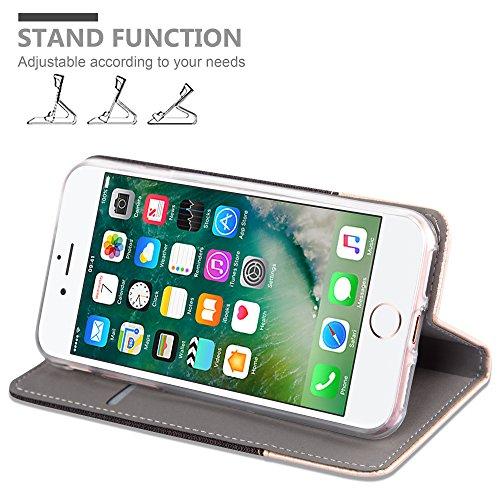 Apple iPhone 8 / 7 / 7S Hülle in DUNKEL-BLAU SCHWARZ von Cadorabo - Handy-Hülle im Stoff Design mit Magnet-Verschluss Standfunktion Karten-Fach Case Cover Schutz-hülle Tasche Book Klapp Style ANTRAZIT-BRAUN