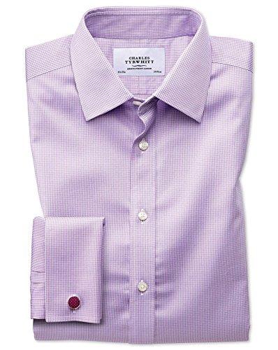 Bügelfreies Slim Fit Hemd in flieder mit Hahnentritt rot (Knopfmanschetten Cuff)