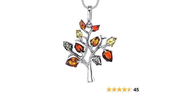 BALTIC AMBER STERLING SILVER 925 HEART SHAPED FLOWER LEAF PENDANT NECKLACE BOXED