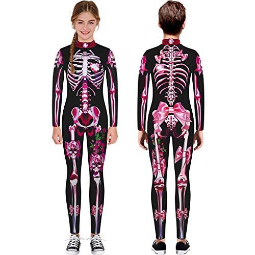 Feuerwehrmann Hot Kostüm - ToDIDAF Halloween Kostüm Kinder Teen Overall Mädchen Jungen Cartoon Schädel Skelett Print Strampler Langarm Festival-Kleidung für Fasching Karneval Cosplay Maskerade Party (Hot Pink, L(11-12 Years))