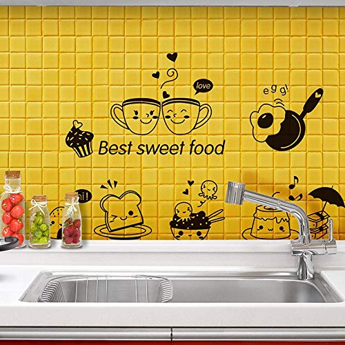 ZMYZ adesivo da parete Kitchen Wall Stickers Coffee Sweet Food DIY Wall Art Decal Decoration Oven Dining Hall Wallpapers PVC Wall Decals/Adhesive