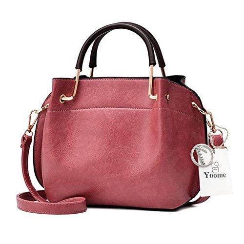 Sacchetti Yoome Vintage per Donne Top Crossbody Top Handle Borse Pochette Tote Per Ragazze Bag Makeup Bag - Rosa Rosso