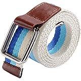 Ayliss® Original Unisex Gestreift Stoffgürtel mit Dual Ring Schnalle Canvas Stoff Gürtel Jeansgürtel Belts 113cm