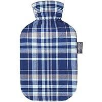 Preisvergleich für Fashy Wärmflasche mit Baumwollbezug im Karodesign, Farbe: marine
