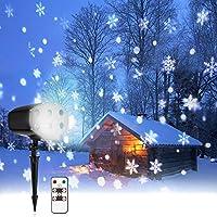 Luz de Proyección Navideña, NACATIN Luz de Nieve Proyector con Control Remoto, Iluminación Decorativa Paisaje Copo de Nieve IP65 a Prueba de Agua 6lED, 9W, 180 Rotación, Versión Mejorada 2018
