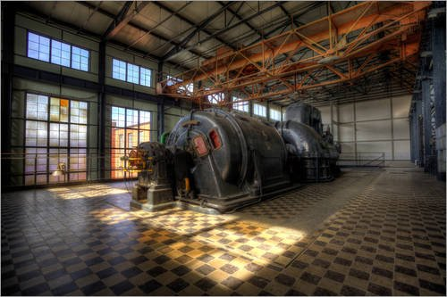 Posterlounge Acrylglasbild 150 x 100 cm: Turbinehalle von Blackbiker - Wandbild, Acryl Glasbild, Druck auf Acryl Glas Bild