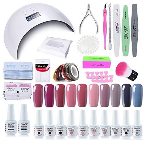 Elite99 Nagellack Set 24W UV LED Nagellampe Starterset Gelnägel, UV Nagelset Gel Farben für Nägel, 10 Stück Gel Lacken Maniküre Set 004