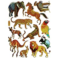Elephant badger bunny kangaroo animal cute sticker decal Metallic Glitter 1 sheet Dimensions: 13,5 cm x 10 cm