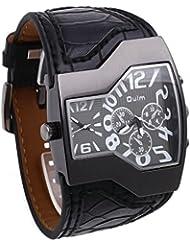 Moda personalizada doble zona horaria pantalla cuarzo reloj deportivo reloj de pulsera militar cuero correa para la muñeca para los hombres negro