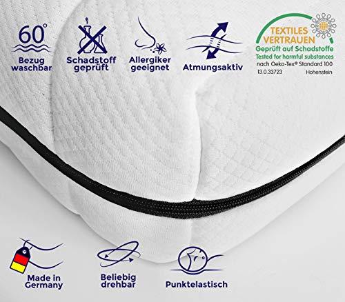 Kaltschaummatratze Rollmatratze Made in Germany 7 Zonen, Matratze mit Härtegrad H2&H3 (ÖKO-TEX® 100 zertifiziert, Bezug waschbar bis 60 Grad, Rollmatratze) - 2