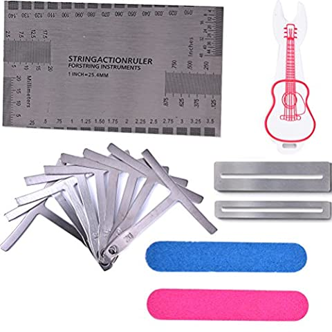 BESTIM INCUK 15 Pieces Luthier Tools Set Includes String Action Gauge Ruler, Understring Radius Gauge, Fingerboard Fret Protector Guards, Bridge Pin Puller for Guitar Bass Setup
