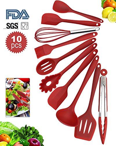 Silikon Küchenhelfer Set von 10 Stücke- LYDAZ Hitzebeständige Antihaft Einfach Zu Reinigen Küchen Utensilien Set (Rot)