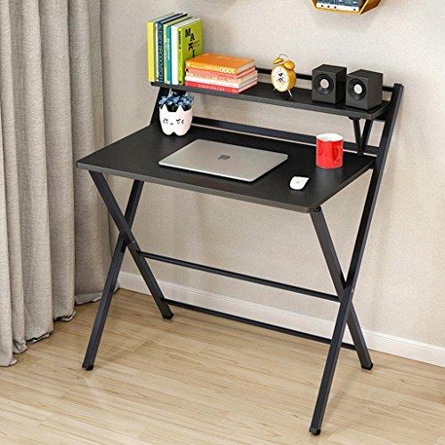 Kirsche Schreibtisch Stuhl (Faltender Computer-Schreibtisch, der Schreibtisch-Ausgangsdesktop-kleine Schreibtisch-Zahnstangen lernt (Farbe : Schwarz))