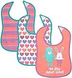 Care Baby-Mädchen Lätzchen Babi1, 3er Pack, Rosa (Hot Pink 598), One size