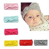 Lot de 6-8 Pièces Bandeau Cheveux Enfant Uni de Nœud Turban Elastique Couleur Pure Accessoire Cheveux Petite Fille (6)