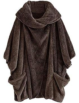 Luckycat Mujeres Casual Sólido Cuello Alto Grandes Bolsillos Capa Abrigos Vintage Abrigos de Gran tamaño