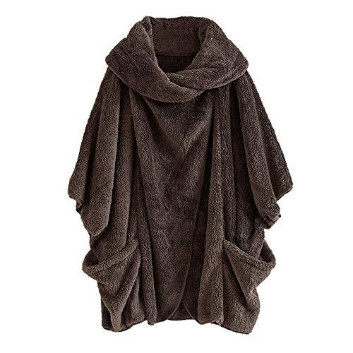 TianWlio Mäntel Frauen Weihnachten Damen Mantel Langarm Strickjacke Jacke Outwear Herbst Winter Mantel Lässige Feste Rollkragen Große Taschen Mantel Mäntel Vintage Übergröße Mäntel