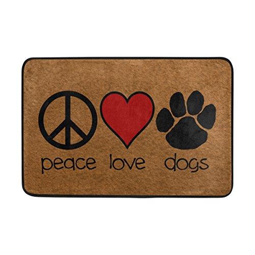 naanle entrada Felpudo símbolo de la Paz amor corazón rojo perros cachorros alfombrilla de puerta interior y exterior para algodón MATERIAL Tela de poliéster Top 15,7x 23,6pulgadas