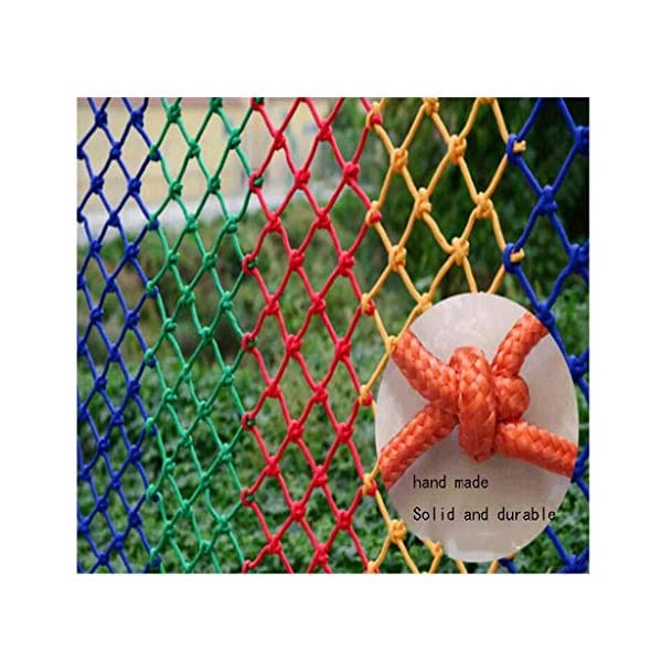 Safety net children's fall protection stairs safety net kindergarten garden playground ceiling decoration net cat net rock climbing hammock swing (Size : 10 * 10M(33 * 33ft))  ◆ Safety net wire diameter 6MM, mesh spacing 10CM.Color: Color rope net.Our protective mesh can be customized according to your needs. ◆Protective net material: Made of nylon braided rope, hand-woven, tightened.Exquisite workmanship, solid and stable, can withstand 300kg weight impact. ◆Features of decorative net: soft material, light mesh, multi-layer warp and weft, fine wiring, fine workmanship; clear lines, non-slip durable, anti-wear. 1