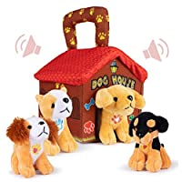 Plush Creations Plush Dog House Carrier with 4 Soft and Cuddly, Talking and Barking, Stuffed Plush Dogs. Excellent Interactive and Educational Plush Toy Set. Great Gift for Kids Toddlers and Babies