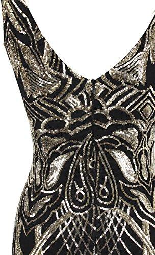 Angel-fashions Damen Ohne Arm Pailletten Baum Ast Net Meerjungfrau-Kleid-Kleid (XL, Schwarzes Gold) - 6