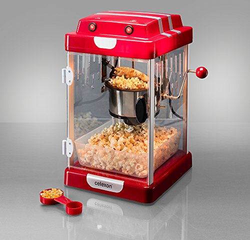 celexon Retro Popcorn Maker, stainless steel, interior lighting, retro style, 1950s, red, popcorn popper machine