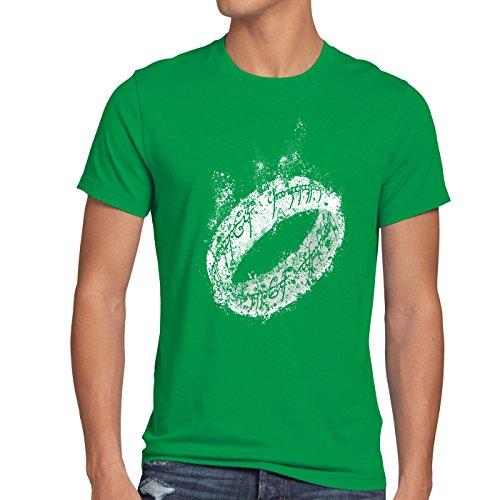 style3 Der Eine Ring Herren T-Shirt Fantasy, Größe:M;Farbe:Grün