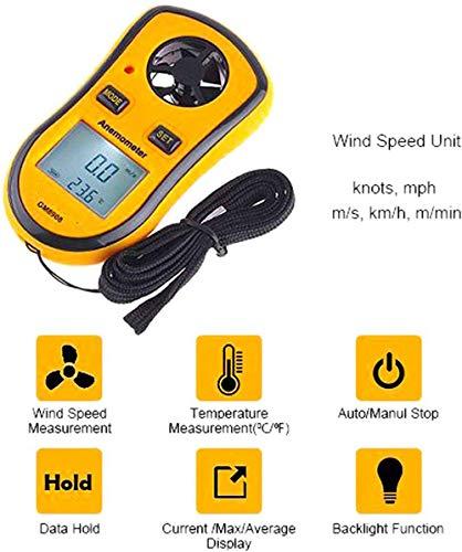 Raenhero Termómetro de Alta precisión anemómetro Digital de Gama anemómetro 0~30M / S para el Windsurf...