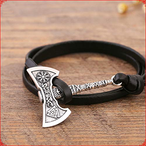 ETHAN Punk Axe Viking Herren Armband Vintage Silber Beil handgemachte geflochtene Leder Piraten Braclet für männliche Hand Schmuck Bisuteria