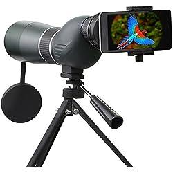 Telescopio Monocular, SGODDE 15- 45 x 60 Zoom impermeable monocular telescopio de un solo tubo HD con trípode estuche y Digiscoping adaptador