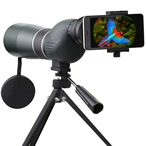 Longue-vue Télescope, SGODDE Téléscope Monoculaire 15-45 x 60 Zoom seul Tube Télescope Monoculaire IP44 Vision Nette avec Trépied Softcase et Adaptateur Smartphone