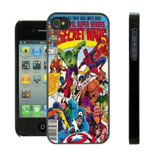 Hartschalenhülle (für iPhone 4 / 4S, mit Comic-Motiv von Marvel, inklusive Displayschutz), Schwarz (4 Fälle Marvel-comic-iphone)