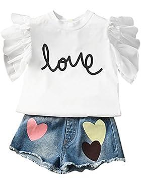 ESHOO Chicas verano amor impresa camiseta y Jeans Shorts Set