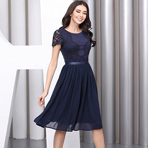 Miusol Abendkleid Sommer Chiffon festlich Kleid Cocktailkleid Vinatge kleider Rot - 5