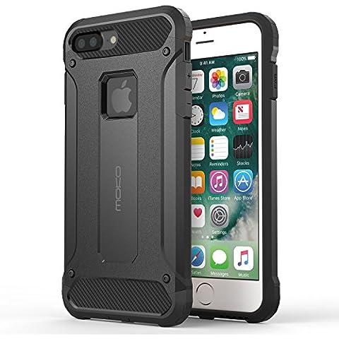 MoKo iPhone 7 Plus Funda - Avanzada Dual Layer Resistente Slim Armor Case Anti-Rasguños Absorción de Choque Protección Parachoques Back Cover para Apple iPhone 7 Plus 5.5 Pulgadas Smartphone (2016), Negro