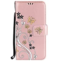 Galaxy S8 Plus Case [Free Tempered Glass Screen Protector],Mo-Beauty® Colorful Floral Flower Butterfly PU Leather Flip Wallet Case Cover For Samsung Galaxy S8 Plus (Rose,Rose gold)