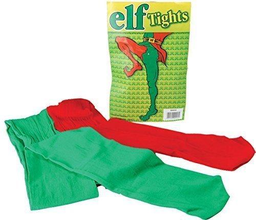 Weihnachten Elfen Joker Party Kostüm Rot & Grün Hofnarr Strumpfhose (Und Elfen Grün Kostüme Rot)