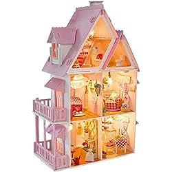 INSN Maison De Quincaillerie, Ensemble De Meubles Miniatures en Bois avec Éclairage LED Magasin De Meubles Créatif pour Cadeau d'anniversaire pour Enfant Et Adulte