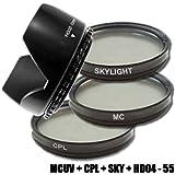 DynaSun Kit Pro 55mm CPL Zirkular Pol mit MC UV Multicoated Filter, Skylight und Gegenlichtblende