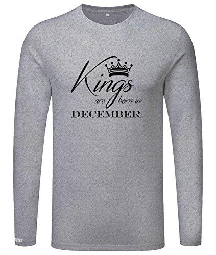 Kings are born in December - Geburtstag - Herren Langarmshirt Grau Meliert