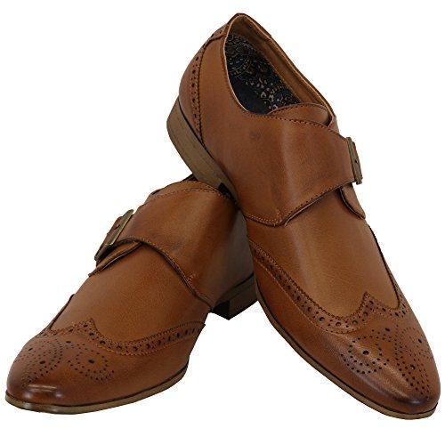 Hommes Allure Cuir Brogue Boucle De Velcro Italian Pointus Chaussures Habillées By Belide Brun - M007