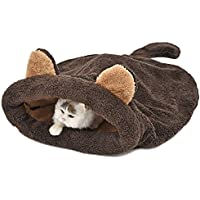 PAWZ Road Washable Cat Sleeping Bag Tent Dog Bed Snuggle Cave Cute Sack Mat for Kitten and Puppy Braun