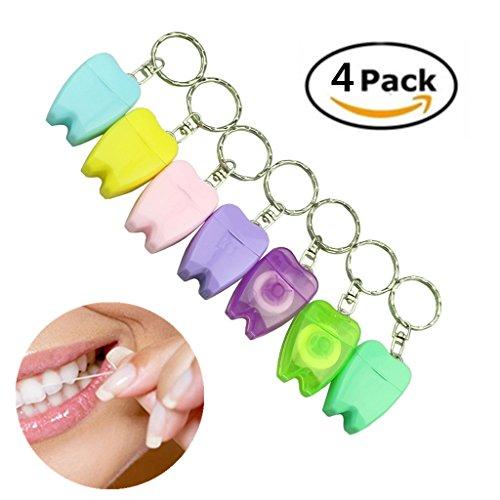 15m gewachst Zahnseide Picks Zahnpflege mit Schlüssel Ring für Reisen und Outdoor zufällige Farben